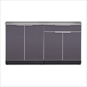 Aluminum Slate 3-Piece Outdoor Kitchen Set with Countertops and Covers