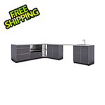 NewAge Outdoor Kitchens Aluminum Slate 7-Piece Outdoor Kitchen Set with Countertops