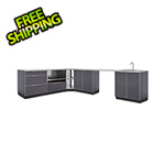 NewAge Outdoor Kitchens Aluminum Slate 7-Piece Outdoor Kitchen Set with Countertops and Covers