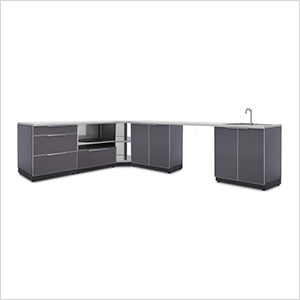 Aluminum Slate 7-Piece Outdoor Kitchen Set with Countertops and Covers