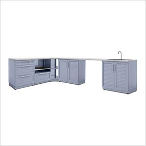 Coastal Grey 7-Piece Outdoor Kitchen Set with Countertops
