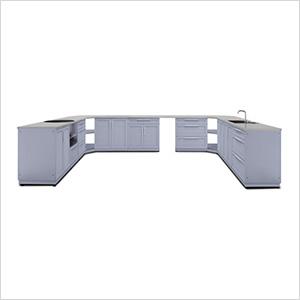 Coastal Grey 17-Piece Outdoor Kitchen Set with Countertops