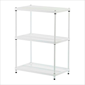 MeshWorks 3-Tier Shelving Unit (White)