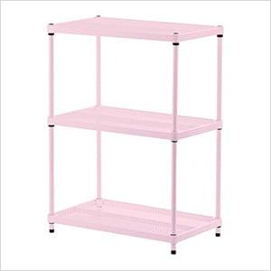 MeshWorks 3-Tier Shelving Unit (Pink)