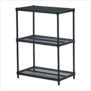 MeshWorks 3-Tier Shelving Unit (Black)