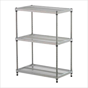 MeshWorks 3-Tier Shelving Unit (Silver)