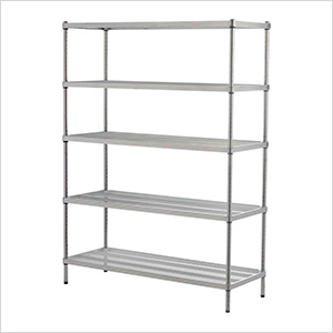 MeshWorks 5-Tier Shelving Unit (Silver)