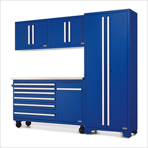Fusion Pro 5-Piece Blue Garage Cabinet Set