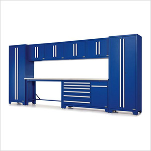 Fusion Pro 10-Piece Blue Garage Cabinet Set