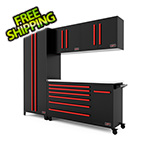 Barrett-Jackson 5-Piece Black and Red Garage Cabinet Set