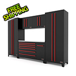 Barrett-Jackson 6-Piece Black and Red Garage Cabinet Set