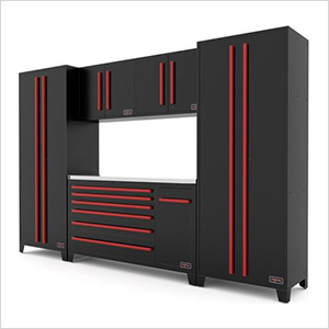 6-Piece Black and Red Garage Cabinet Set