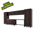 Barrett-Jackson 10-Piece Black and Red Garage Cabinet Set