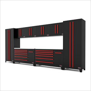 10-Piece Black and Red Garage Cabinet Set