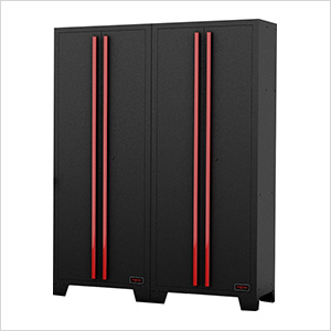 Black and Red Tall Garage Cabinet (2-Pack)