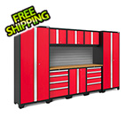 NewAge Products BOLD Series Red 9-Piece Set with Bamboo Top and Backsplash