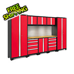 NewAge Products BOLD Series Red 9-Piece Set with Bamboo Top, Backsplash, LED Lights