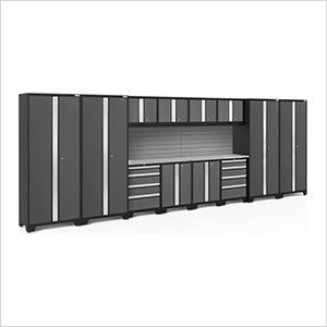 BOLD Series Grey 14-Piece Set with Stainless Steel Top and Backsplash