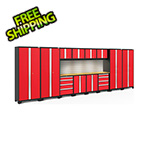NewAge Products BOLD Series Red 14-Piece Set with Bamboo Top, Backsplash, LED Lights