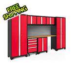 NewAge Garage Cabinets BOLD Series 3.0 Red 8-Piece Set with Bamboo Top and Backsplash