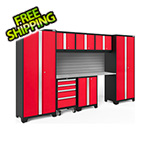 NewAge Garage Cabinets BOLD Series Red 8-Piece Set with Stainless Steel Top and Backsplash