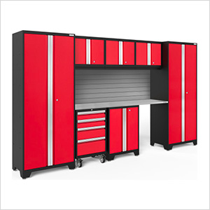 BOLD Series Red 8-Piece Set with Stainless Steel Top and Backsplash