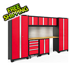 NewAge Garage Cabinets BOLD Series Red 8-Piece Set with Bamboo Top, Backsplash, LED Lights