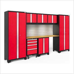 BOLD Series Red 8-Piece Set with Bamboo Top, Backsplash, LED Lights