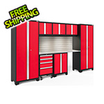 NewAge Garage Cabinets BOLD Series Red 8-Piece Set with Stainless Top, Backsplash, LED Lights