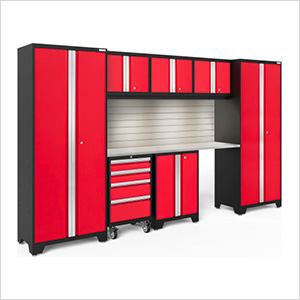 BOLD Series Red 8-Piece Set with Stainless Top, Backsplash, LED Lights
