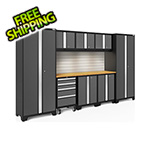 NewAge Garage Cabinets BOLD Series Grey 9-Piece Set with Bamboo Top, Backsplash and LED Lights