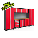 NewAge Garage Cabinets BOLD Series 3.0 Red 9-Piece Set with Bamboo Top and Backsplash