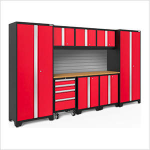 BOLD Series 3.0 Red 9-Piece Set with Bamboo Top and Backsplash