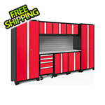 NewAge Garage Cabinets BOLD Series Red 9-Piece Set with Stainless Steel Top and Backsplash