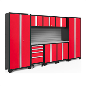 BOLD Series Red 9-Piece Set with Stainless Steel Top and Backsplash