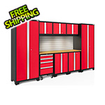 NewAge Garage Cabinets BOLD Series Red 9-Piece Set with Bamboo Top, Backsplash and LED Lights