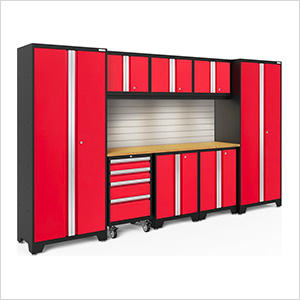 BOLD Series Red 9-Piece Set with Bamboo Top, Backsplash and LED Lights