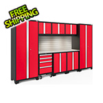 NewAge Garage Cabinets BOLD Series Red 9-Piece Set with Stainless Top, Backsplash, LED Lights