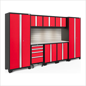 BOLD Series Red 9-Piece Set with Stainless Top, Backsplash, LED Lights