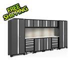 NewAge Garage Cabinets BOLD Series Grey 12-Piece Set with Stainless Top, Backsplash, LED Lights