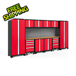 NewAge Garage Cabinets BOLD Series 3.0 Red 12-Piece Set with Bamboo Top and Backsplash