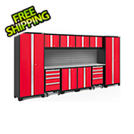 NewAge Garage Cabinets BOLD Series Red 12-Piece Set with Stainless Steel Top, Backsplash, LED Lights