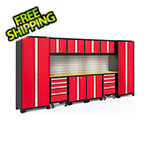 NewAge Garage Cabinets BOLD Series Red 12-Piece Set with Bamboo Top and Backsplash