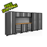 NewAge Garage Cabinets BOLD Series 3.0 Grey 10-Piece Set with Bamboo Top and Backsplash