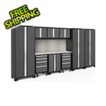 NewAge Garage Cabinets BOLD Series Grey 10-Piece Set with Stainless Top, Backsplash, LED Lights