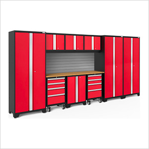 BOLD Series 3.0 Red 10-Piece Set with Bamboo Top and Backsplash