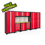 NewAge Garage Cabinets BOLD Series Red 10-Piece Set with Bamboo Top, Backsplash, LED Lights
