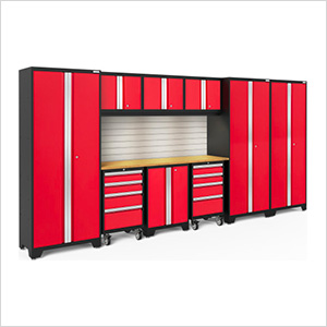 BOLD Series Red 10-Piece Set with Bamboo Top, Backsplash, LED Lights