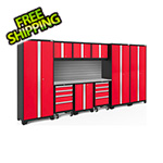 NewAge Garage Cabinets BOLD Series Red 10-Piece Set with Stainless Steel Top and Backsplash