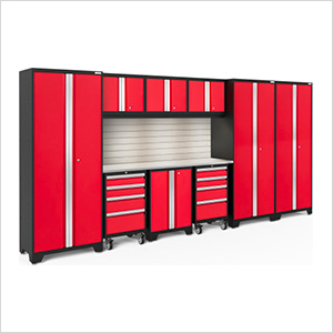 BOLD Series Red 10-Piece Set with Stainless Top, Backsplash, LED Lights